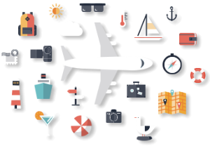 vector image of airplane and travel materials